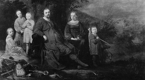 Lucas de Clercq met 3 kinderen en Adriaentgen Keysers met haar voorzoon Ja Jansz. Snaets. Toegeschreven aan Gerrit Bleker, circa 1645 (Afb. Stichting Familierchied De Clercq)