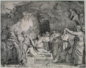 De opstanding van Lazarus (ets uit 1643 in New York Public Library)