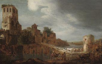 Gerrtit Bleker, 1639, een rivierlandschap met een herder die zijn vee over een brug drijft nabij een fort. In 2009 voor 6.250 Engelse pond geveild bij Christie's in Londen.