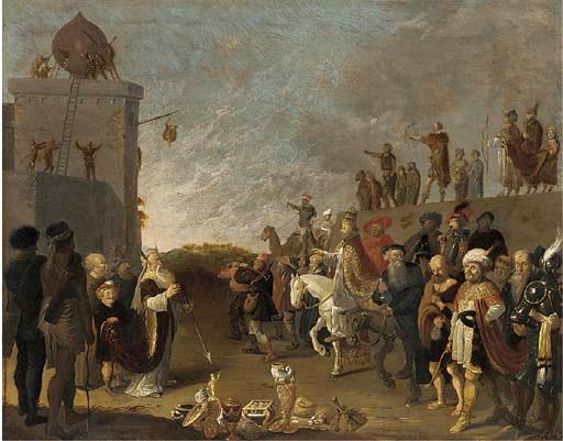 Dirk Bleker: een allegorische voorstelling van Mozes en Aäron en een paus.