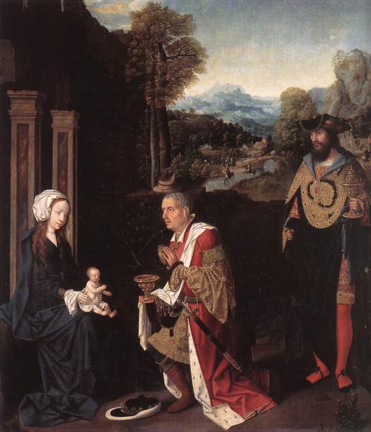 Gerrit Bleker:  Aanbidding van Maria en het kind door de koningen. Paneel op eikenhout (Museum Mayer van den Bergh, Antwerpen)