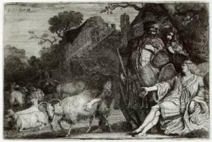 Gerrit Bleker: ets van de engel die aan Abrham een zoon belooft (1638)