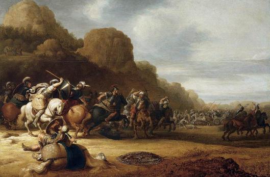 Gerrit Bleker: schilderij van een cavaleriegevecht