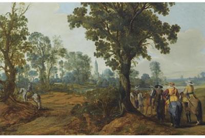 Gerrit Bleker: boslandschap met soldaten en een kerktoren op de achtergrond