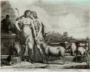 Gerrit Bleker: Jacob kust Rachel (ets 42,5 x 53,7 cm.)