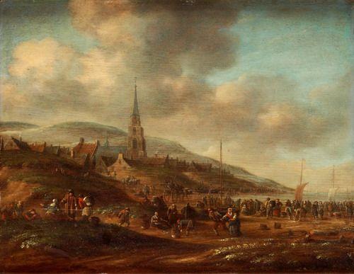 Dirk Bleeker: kustplaats met kerktoren