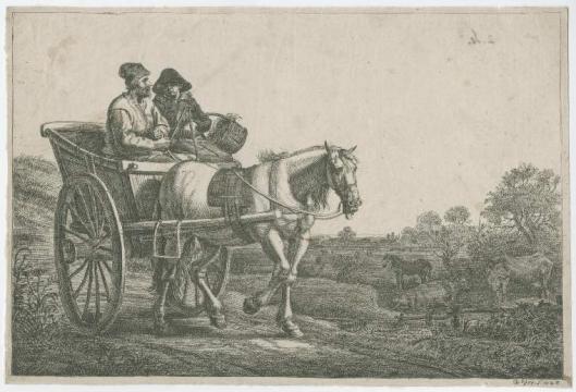 Gerrit Bleker: paard en wagen met 2 personen. 1643 (Fitzwilliam Museum)