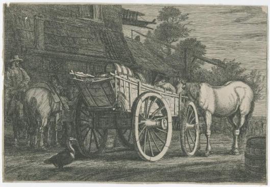 Een uitgespannen wagen met paard en twee ruiters + een eend voor een herberg (Fitzwilliam Museum; Noord-Hollands Archief)
