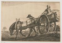 Boerin in een paardenkar met lopende man; ets door Gerrit Bleker (Rijksmuseum)