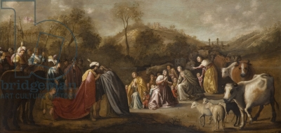 De ontmoeting van Jacob en Esau. Schilderij van Gerrit Claeszoon Bleker in Shipley Art Gallery, Gateshead, Engeland (foto Bridgman Art Library)
