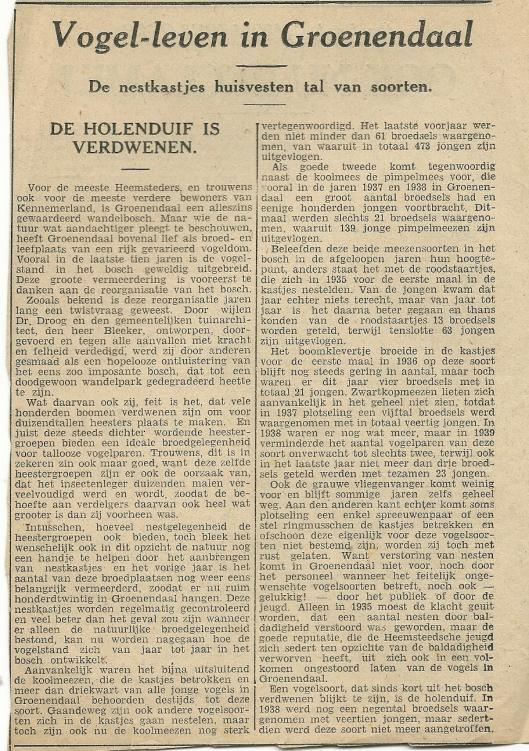 Knipsel over vogels in Groenendaal uit Oprechte Haerlemsche Courant van 16 augustus 1941