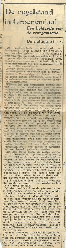 Knipsel over de vogelstand in Groenendaal uit OHC van 26 maart 1943