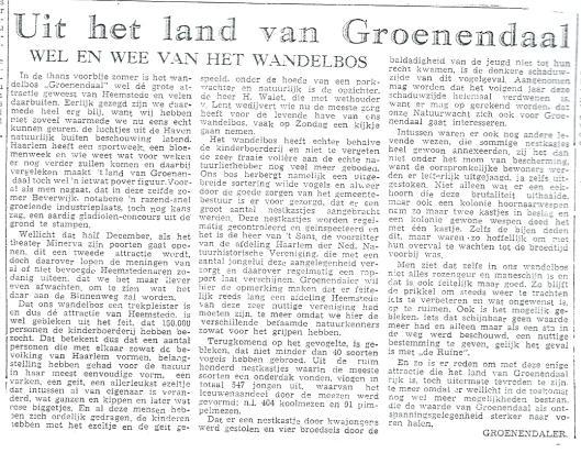 Uit het land van Groenendaal; door Groenendaler (ps.). Uit: Nieuwe Haarlemsche Courant van 31 november 1951