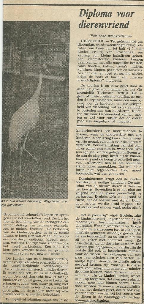 Kraanvogels terug in Groenendaal (vervolg). Uit: Haarlems Dagblad van 27 september 1979.