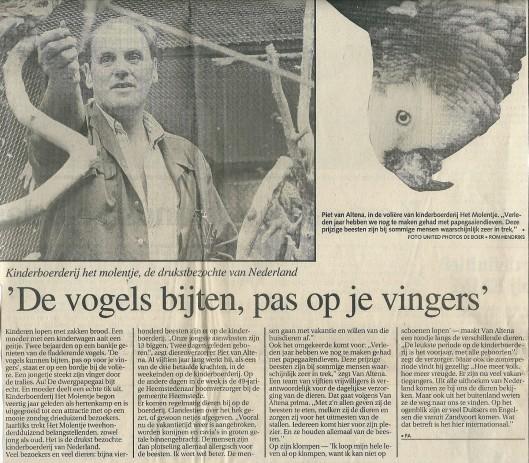 De volière van Groenendaal en Piet van Altena (Haarlems Dagblad van 16 juli 1991)