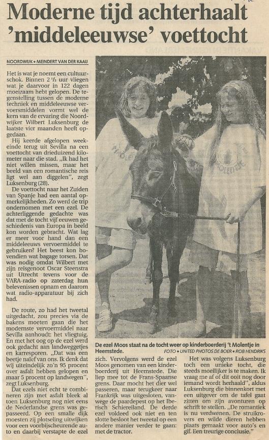 Noordwijker Wilbert Luksenburg reisde per ezel 'Moos' van Groenendaal naar Sevilla