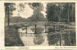 Brug over waterlelievijver Groenendaal op een in 1914 verzonden kaart