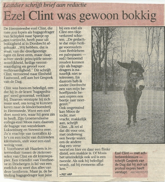 Heemsteedse ezel Clint (vernoemd naar Clint Eastwood) kwam vanwege een blessure niet verder dan Dordrecht (Uit: Haarlems Dagblad, augustus 992)