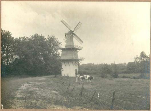 Het molentje van Groenendaal met op de achtergrond o.a. het torentje van de Oude Kerk