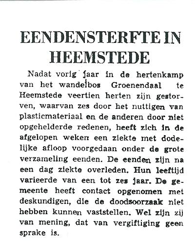 Eendensterfte in Heemstede. Uit: Leeuwarder Courant van 29 april 1965