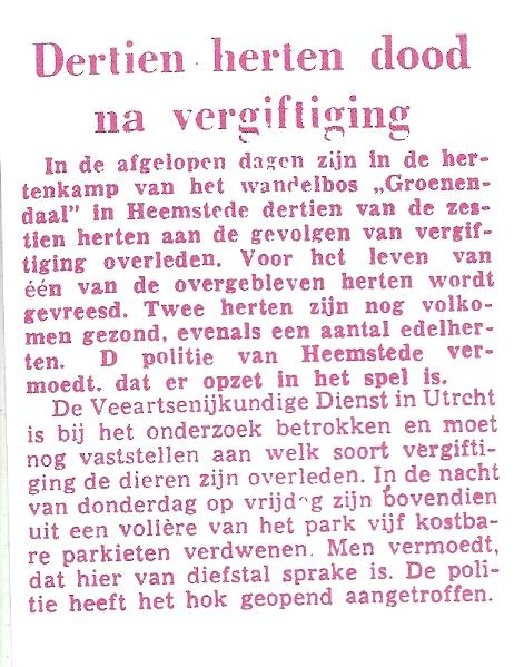 Dertien herten dood na vergiftiging. Uit: Leeuwarder Courant van 2 maart 1964
