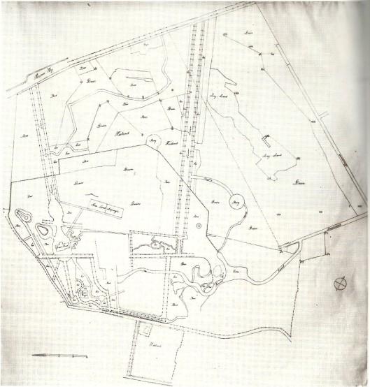 Groenendaal: kopie van 18e eeuwse kaart. Boven de Herenweg. Dubbele bomenlaan: Sparrenlaan naar het vroegere herenhuis