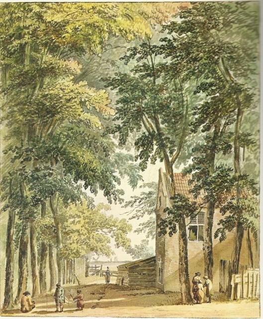 De Driesprong. Tekeninh van Hedrik Tavenier uit 1775 (Noord-Hollands Archief)
