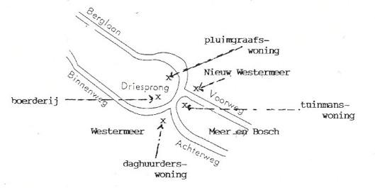 Kaartje van de Driesprong en omgeving door J. W.G.van Doorn, uit: Heemstede in de 19e eeuw, de Driespong en Westerrmeer. In: Oud-Heemstede-Bennebroek, nummer 88, 1996, p. 83-91