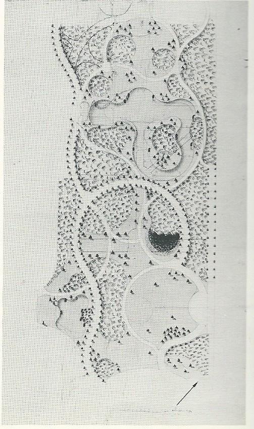 Ontwerp Meer en Berg van J.D.Zocher Sr.uit 1794. In dit ontwerp is de basis opzet van Daniel Marot zichtbaar [Noord-Hollands Archief]
