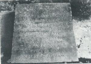 Grafsteen van Jacob Abraham van Lennep, overgebracht naar de cultuurhistorische grafstenentuin (foto Vic Klep)