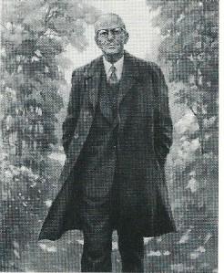 Postuum geschilderd portret van burgemeester Van Rappard, wandelend in Groenendaal, door G.W.Mandersloot