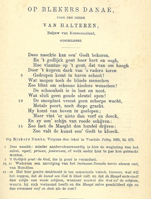 Uit: de werken van J.van den Vondel, uitgegeven door mr. J.van Lennep, herzien en bijgewerkt door J.H.W.Unger. Deel 1648-1651. Leiden, A.W.Sijthoff.
