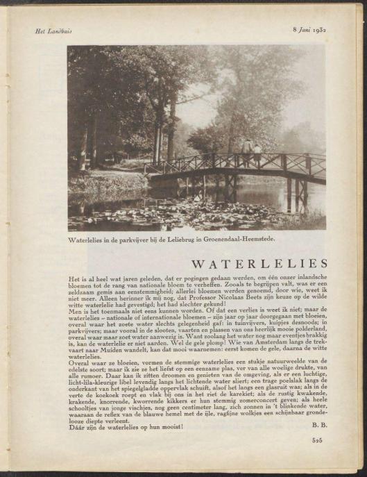 Waterlelies in Groenendaal. Uit: Het Landhuis, jrg. 27, 1932, nr.2