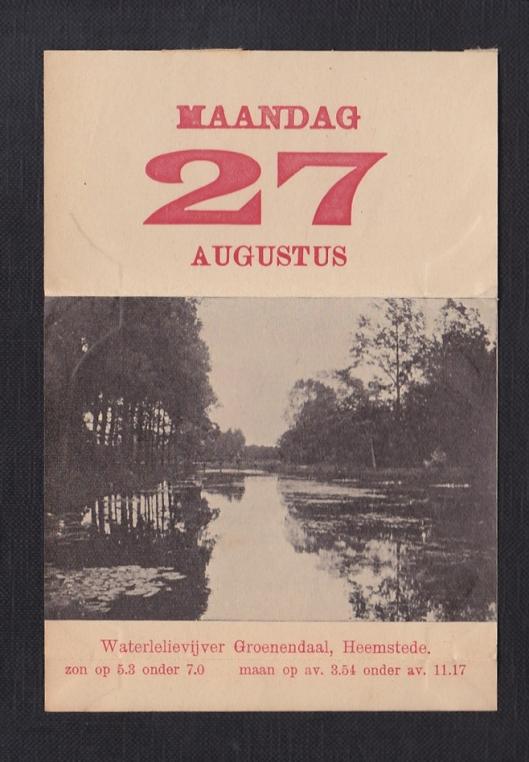 Kalenderplaatje van waterlelievijver uit 1910