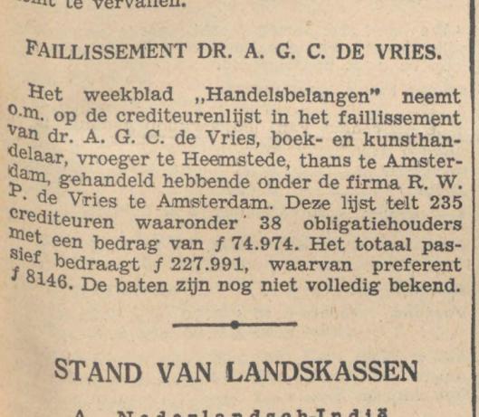 Faillissementsbericht A.G.C. de Vries, uit Het Vaderland van 20 mei 1936