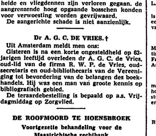 Overlijdensbericht uit het Vaderland van 20 mei 1936