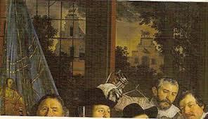 Detail van een schuttersmaaltijd door Bartholomeus van der Helst met op de achtergrond brouwerij het Lam van Lodewijk de Bas