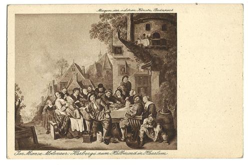 J.M.Molenaer: herberg de Halve Maan in Haarlem. Oude ansichtkaart naar schilderij in Budapest