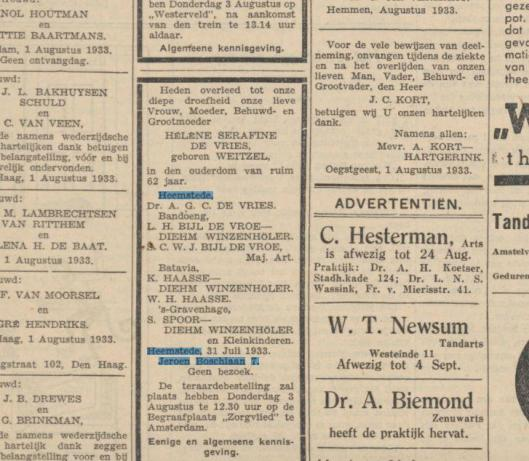 Overlijdensadvertentie van mevrouw H.S. de Vries-Weitzel