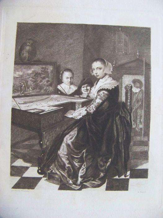 Ets van Willem Steelink (1826-1913) naar schilderij van Jan Miense Molenaer: Judith Leyster.