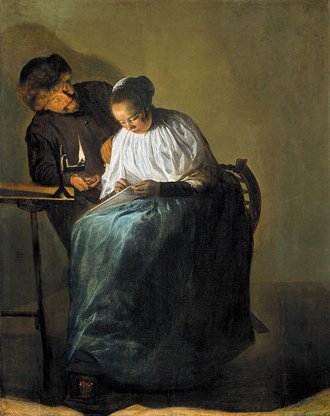 Judith Leyster: het voorstel; man biedt vrouw geld aan (Mauritshuis Den Hag)