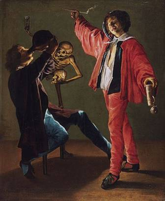 Judith Leyster: de laatste druppel. Een allegorische voorstelling op de ijdelheid. Het skelet houdt een zandloper in de hoogte als waarschuwing voor het slecte leven: jullie verbrassen je tijd.