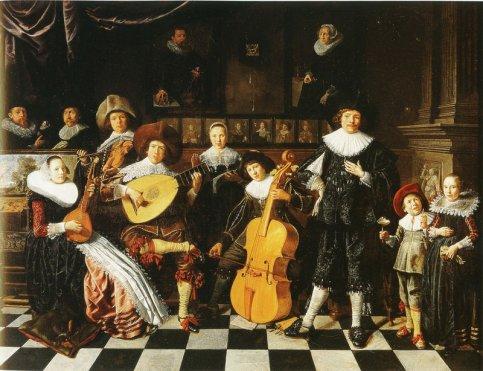 Jan Miense Molenaer: de familie van de schilder als musicerend gezelschap met links zijn vrouw Judith Leyster. Circa 1635-1636. (Frans Hals Museum)
