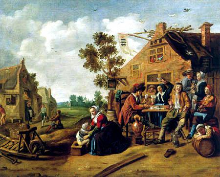 Jan Miense Molenaer: boerengezelschap voor een herberg (Frans Halsmuseum)