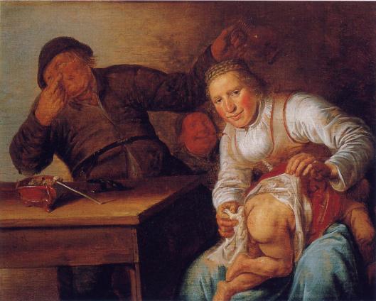 Jan Miense Molenaer: verschoning van een baby