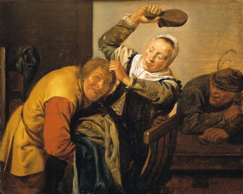 Door J.M.Molenaer zijn de vijf zintuigen verbeeld op 5 panelen: zien, horen, ruiken, proeven en voelen. M.u.v. horen met monogram IMR. Enkel voelen is gedateerd, nl. 1637. De vrouw die een man met haar schoen op zijn hoofd wil slaan moet het gevoel verbeelden. Mauritshuis, tijdelijk in bruikleen Frans Hals Museum
