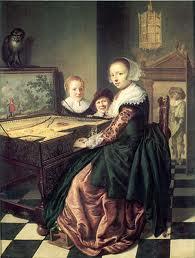 Jan Miense Molenaer schilderde zijn echtgenote Judith Leyster aan het Virginaal (clavecimbel) (Rijksmuseum Amsterdam)