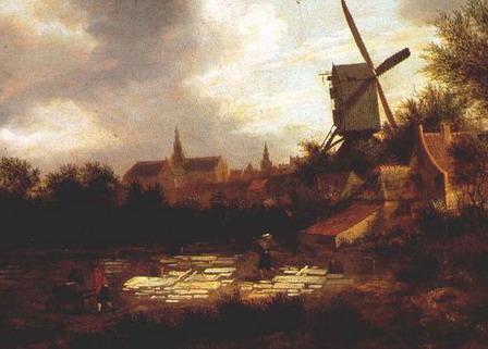 Jan Miense Molenaer: bleekveld met in de verte de oude Bavokerk van Haarlem