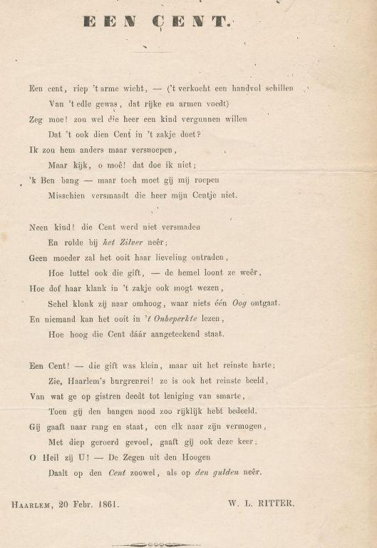 Het Haarlemse gedicht 'Een cent' van W.L.Ritter uit 1861