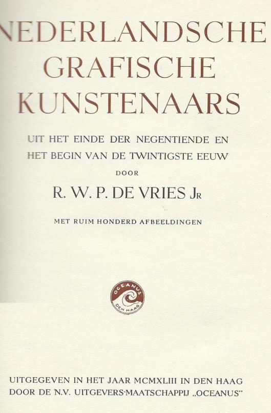 Titelblad van 'Nederlandsche Grafische Kunstenaars' door R.W.P.de Vries Jr. (1943).